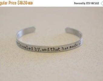 15% off entire shop The Road Not Taken Poem, Robert Frost Hand Stamped Copper Cuff Bracelet, Graduation Gift