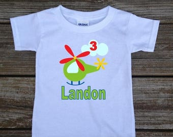 SALE Personalized Little Boy's Birthday Shirt in Helicopter Transportation T-shirt Bodysuit in Blue Grey White Pink