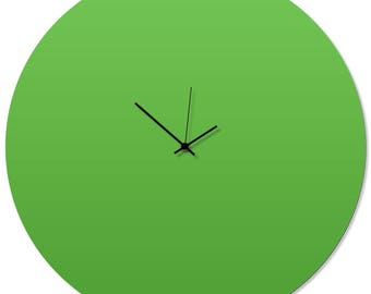 Contemporary Clock 'Greenout Circle Clock' by Adam Schwoeppe - Original Green Kitchen Clock Minimalist Wall Decor on Aluminum Polymetal
