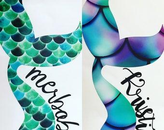 Merbabe - mermaid - merbabe decal -mermaid decal - mermaid hair - mermom- personalized yeti - mermaid at heart - mermaid tail