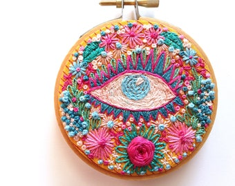 FLOWER SCENTED LASHES, Embroidery Hoop Textile Art Piece, Small Floral Eye Wall Art, Pink Green Blue Jewel Tones