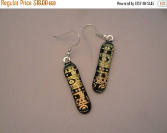 Christmas in July Sale Dichroic Fused Glass Earrings - BHS03143