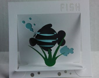 Pop Up Fish Card - Blue