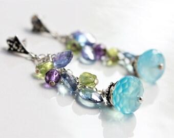Blue Chalcedony Earrings, .925 Sterling Silver wire wrap multi gemstone cluster earrings, blue topaz, peridot, amethyst, gift for her,4210