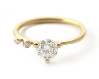 ON SALE Round Diamond Engagement Ring, Modern Engagement Ring, 0.75 Carat Diamond Ring, Round Cut Diamond Ring, 18k Gold Ring