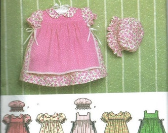 ON SALE Simplicity 4709 Babies Dress, Pinafore, Pantaloons, Panties and Hat Pattern, XXS-Xs-S-M-L Uncut