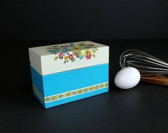 Vintage Metal Recipe Box by Ohio Art Bright Blue with Flowers 1970s Retro Kitschy Kitchen Decor