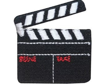ID 3090 Movie Slate Board Clapper Patch Film Prop Embroidered Iron On Applique