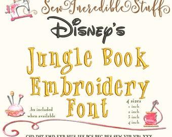Disney's Jungle Book Machine Embroidery font, 4 sizes