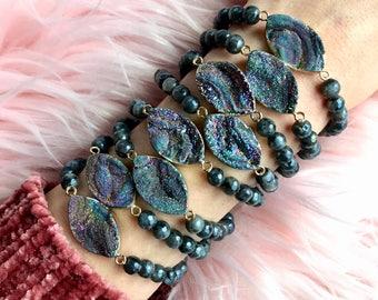RAINBOW DRUZY+LABRADORITE  // Stretch bracelet // stacking bracelet // gemstone jewelry