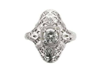 White Gold Diamond Filigree Ring, Antique Diamond Ring, Filigree Ring, Vintage Diamond Ring, Diamond Ring, Filigree Diamond Ring