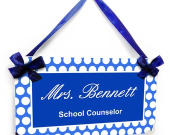 personalized school counselor classroom door sign - white and royal polka dots - graduation gift - P2623