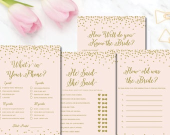 Bridal Shower Games blush gold shower wedding shower games he said she said blush pink and gold Mia BR70 Printable Bridal - Instant Download