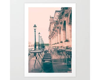 SALE Paris photography, Paris wall art, Paris canvas, Paris cafe, Paris print, Pink Paris art, large art, Louvre, Paris decor romantic Paris