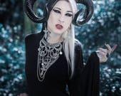 Collier maxi plastron lune argenté goth pentagram 666 Baphomet 666