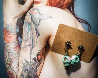 Bronze turquoise Sugar Skull Día de los Muertos earrings