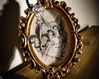 Silver fleur de lis pendant black leather necklace