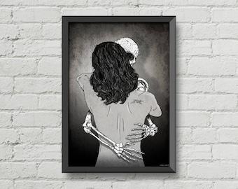Till death do us part,digital print,poster,skull,skeleton,illustration,black & white,art,gothic,goth