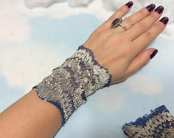 Silver blue lace bracelet, Lace wrist cuff Lace Victorian glove boho lace bracelet stretch lace bracelet wrist tattoo cover silver lace cuff