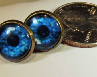 Earrings Handmade Blue Eyes Under Glass Vintage Finished Settings Steampunk Exotic Gypsy Boho Unique Post Back Statement Earrings