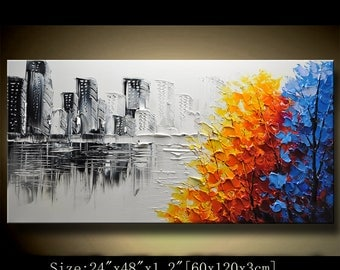 contemporary wall art,Palette Knife Painting,colorful Park painting,wall decor  Home Decor,Acrylic Textured Painting ON Canvas by Chen 18b17