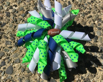 Hair Bow Clip - Seattle Seahawks Blue Green Whitened  Silver Ribbon Korker / Corker Hair Clip with Football Bead