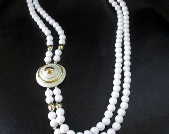 White statement necklace, vintage white and gold double strand asymmetric beaded necklace, 50s or 60s