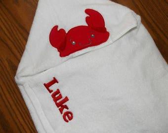 Crab Hooded Towel Personalized Hood Towel Nautical Baby Shower Gift Ocean Decor Nautical Birthday Party Nautical Decor Ocean Bath Towel