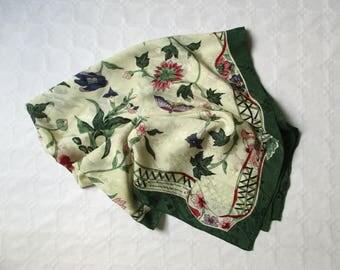 Authentic vintage french carré silk scarf, Musée Historique LYON, 1980, Foulard soie, France