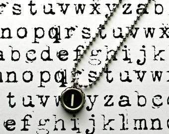Vintage 1940s Upcycled Typewriter Key Necklace-Letter L/I -Unisex Jewelry-Technology Geeks-by OldTimeVintageFinds