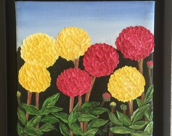 Chrysanthemums - Oil Painting - Original Art by Trupti Vakharia - Heavy Textured Palette Knife Impasto Art