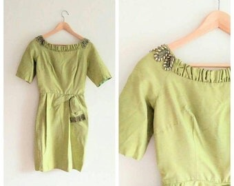 SPRING SALE Vintage 1960s 60s Couture Lime Green Raw SILK Beaded Wiggle Dress