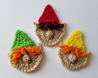 """NEW- 1pc 3.75"""" Crochet ELF, GNOME Applique"""
