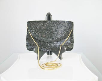 Black Beaded Bag / Vtg 60s / Jerome black Beaded Envelope Clutch Snake Chain