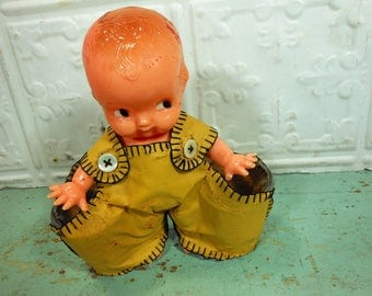 Vintage Irwin Kewpie Doll Shot Glass Holder, Hard Plastic Doll Carrying Shot Glasses in Yellow Overalls, Made in USA
