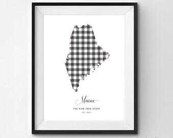 Maine Printable | Printable Art | Gingham | ME Print | Maine Art | Maine | State Art Printable | State Poster | Printable Wall Art