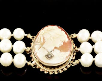 14k, Gold, Yellow Gold, Hand Carved Cameo, Hand Strung Freshwater Pearls, Bracelet