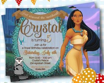 Pocahontas Invitation, Pocahontas Birthday Invitations, Pocahontas Invites, Printable Pocahontas Invitations, Princess Invitations - P612