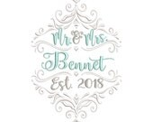 MR & Mrs Scroll Wedding Embroidery Design - Instant Download
