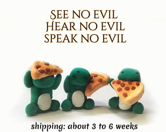 See No Evil, Hear No Evil, Speak No Evil Dinosaur and Pizza Set, Pizza Lover, Polymer clay monsters, Three Wise Monkeys
