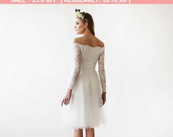 25% OFF! Off-The-Shoulder Ivory Lace and Tulle Wedding Midi Dress 1156