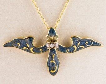 Antique Necklace - Antique Art Nouveau 14k Yellow Gold Enamel & Diamond Necklace