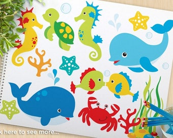 Under the Sea (#1) Clipart, dolphin, whale, crab, seahorse, nautical, beach, turtle, starfish, commercial use, vector clipart, SVG Cut file