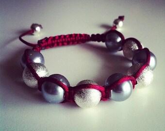 Shamballa bracelet adjustable gray Burgundy and silver #56