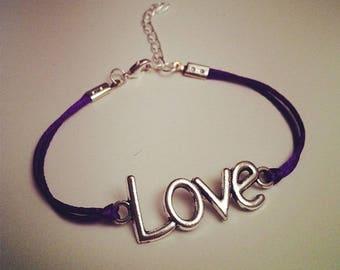 Purple String Bracelet with LOVE silver