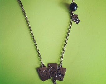 Long brass chain necklace cards ACE Poker
