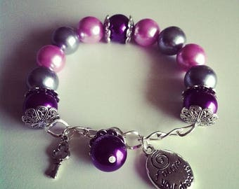 Charm bracelet purple violet and gray #64