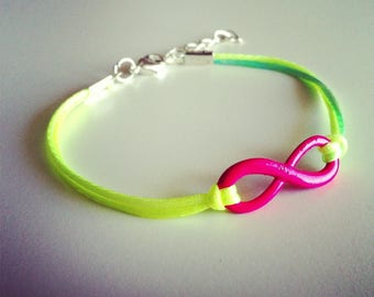 Pink neon multicolored cord with Infinity sign bracelet