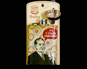 "Vintage Flask - Humorous Flask, Retro Flask, Vintage Look Flask, ""It's 5:00 Somewhere"" on Flask,"