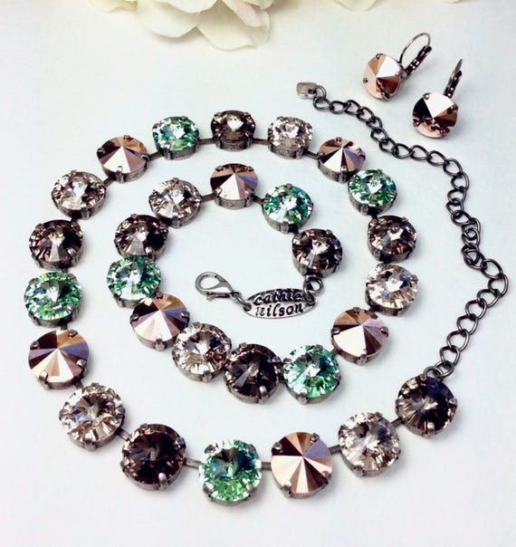 Swarovski Crystal 12MM Necklace & Earrings -Designer Inspired - Soft Green, Rose Gold, Champagne and Greige- Beautiful! - FREE SHIPPING